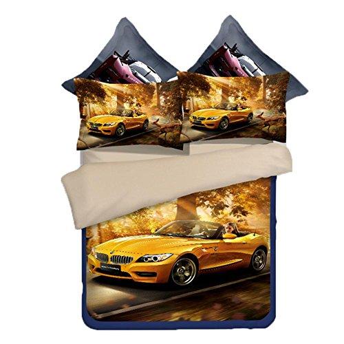 Vettura Sportiva Creativo Effetto 3D Stampa Doppio Copripiumini Letto Di Lusso Accogliente, Confortevole (Foglio, Copripiumino, Federa X2) , Sports Car , 1.8M,sports car,1.8m