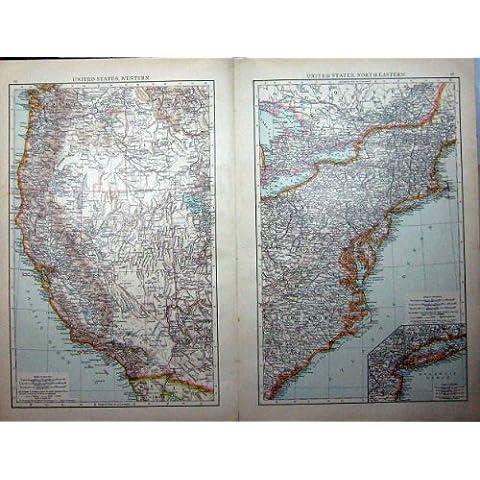 Impresión Antigua del Jersey de América Long Island Arizona California de 1896 Mapas