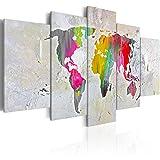 murando - Bilder 100x50 cm Vlies Leinwandbild 5 TLG Kunstdruck modern Wandbilder XXL Wanddekoration Design Wand Bild - Weltkarte Welt Kontinent - wie gemalt k-A-0043-b-n