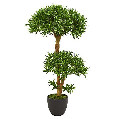 Nearly Natural 3' Bonsai Styled Podocarpus Artificial Tree künstliche Pflanze, Plastik, grün