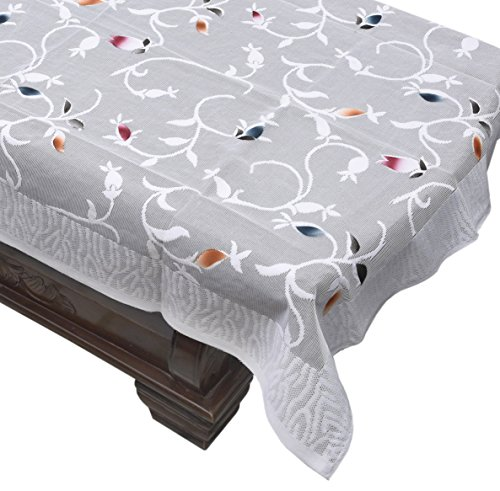 Yellow Weaves Designer Center Table Cover Net Fabric 40X60 Inches (White)
