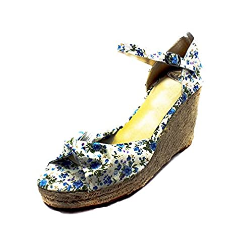 Blue floral Canvas Wedge heel sandals with peep toe and ankle strap