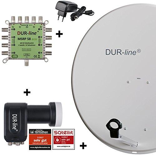 DUR-line MDA 80 Hellgrau - Digitale 8 Teilnehmer Satellitenschüssel Komplett-Anlage mit premium Multischalter und LNB [Camping, Astra 19,2°, DVB-S/S2, Full HD, 4K, 3D]