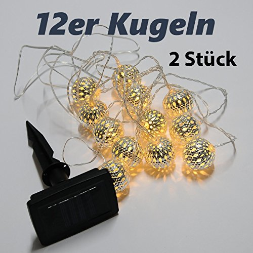 2Stück 12er LED Solar Silber Kugeln Lichterkette warm Licht , Garten Solar Beleuchtung für Party , Weihnachten Silber Kugeln Lichterkette