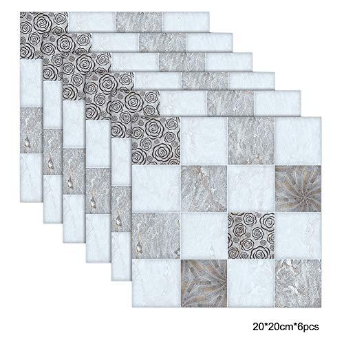 Marmoreffekt Fliesen Aufkleber Set, Marokkanischen Mosaik Simulation Stein Wand Dekorative Aufkleber Wasserdichte Tapete für Küche Badezimmer Wohnzimmer (20x20, 6 stücke) -