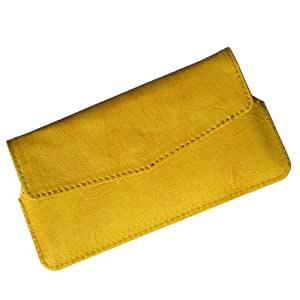 i-KitPit Quality PU Leather Pouch Case With Magnet Closure For Karbonn A21+ (YELLOW)