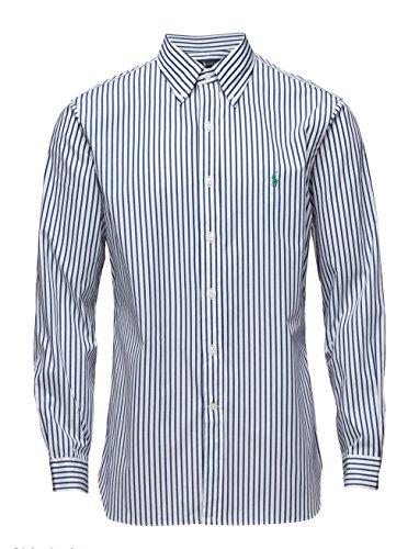 Ralph lauren camicia da uomo button-down slim fit a righe logo a02wcc03c66ln (16, bianco/navy)