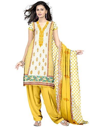 Eshaana Fashions Cotton Embroidered Semi-stitched Salwar Suit With Chiffon Dupatta
