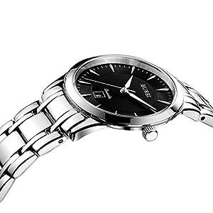 BUREI Mujer Cristal de zafiro cuarzo reloj con pulsera de acero inoxidable de BUREI