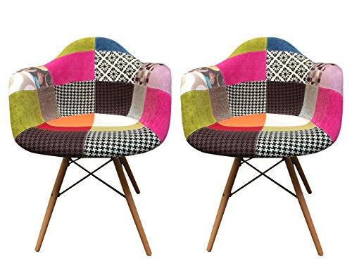 2-Stck-SesselSthle-teppichflchen-Design-klaren-Linien-und-hervorragende-Verarbeitung-mit-Stoff-gepolstert-Fe-Buche--Collection-Retro--Patchwork