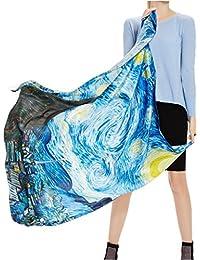 Prettystern - 110 cm carré surdimensionné écharpe de soie handrolled - van Gogh - 5 sélection de motif