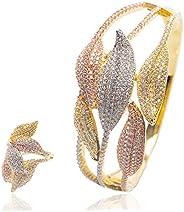 Woman Multicolour 2pcs/Set Jewelry Bracelet Ring Set Copper Zircon Plated Rose Gold Hyperbole Multi-layered Le