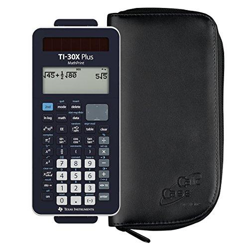 TI-30 X Plus MathPrint + Original CalcCase Schutztasche schwarz - Wissenschaftlicher Taschenrechner Ti30