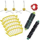 Techypro - Kit di ricambi per aspirapolvere iRobot Roomba serie 500(modelli 500-530-550-560-570), include 5filtri, 3 spazzole laterali, 1 spazzola a setole e 1 spazzola battitore flessibile, 1 strumento per la pulizia