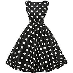 Siswong Las Mujeres de Cintura Alta Lunares Vestido Plisada Grande con Cinturón de Sin Mangas de Fiesta Años 50 Vintage Negro Estilo Hepburn (Negro, L)