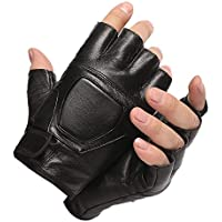 Lyq&st Leather Gloves Men's Autumn And Winter Half Finger Gloves Sports Fitness Gloves Outdoor Riding Hiking Fingerless Slip Riding Gloves