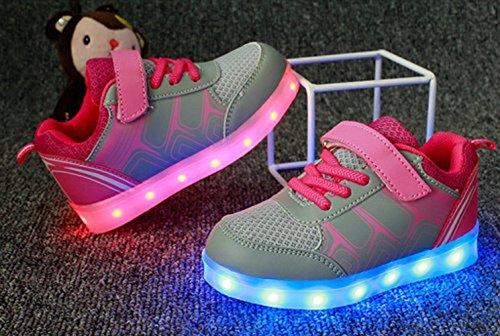 [Présents:petite serviette]JUNGLEST Unisexe Enfant Filles Garçons Couleur USB Charge LED Lumière Lumineux Clignotants Chaussures Rose