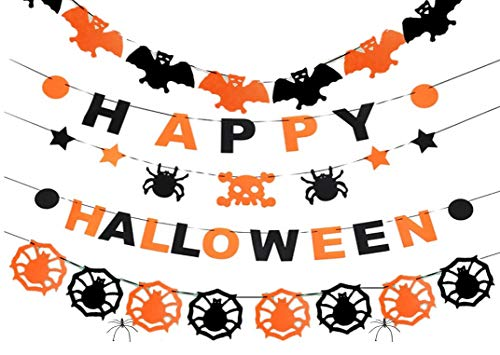 Live with love hecorazioni halloween casa da appendere decorazioni halloween kit appeso decorazione a tema party banner fantasmi, ragno, pipistrello gigante, nero arancione