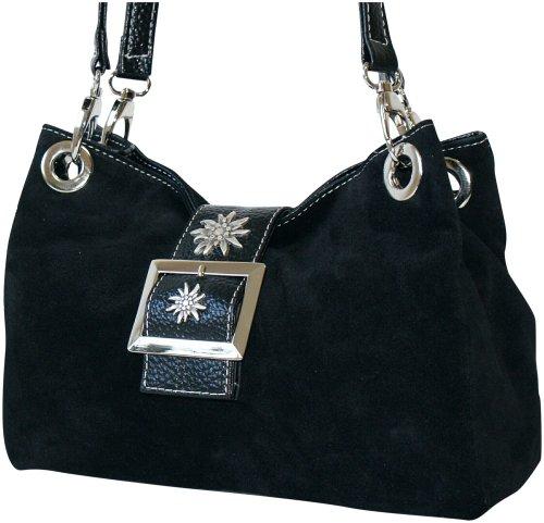 Trachtentasche Leder-Tasche Trachtenbeutel Handtasche Schultertasche schwarz (Purse Handtasche Fell Bag)