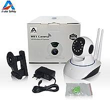 Auto Safety 720P 1.0 Megapixels P2P IP WiFi Cámara Video Vigilancia IR Nocturna de 1.0Mp y detección de movimientos Resolución HD (1280 * 720P) Cámara de Seguridad para el Hogar Monitor de Bebé [Doble Antena]