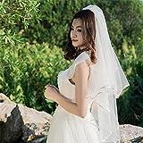 Veil Sposa Matrimonio Velo Polpastrello Lunghezza Doppio Partito Nascosto Filato Netto Con Il Pettine Di Metallo Bianco Avorio