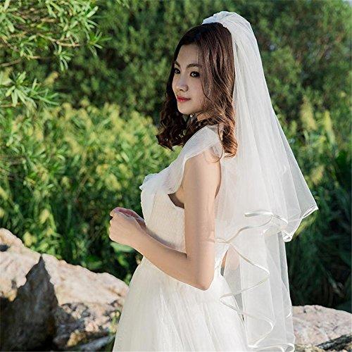 Gwq sposa matrimonio velo polpastrello lunghezza doppio partito nascosto filato netto con il pettine di metallo bianco avorio