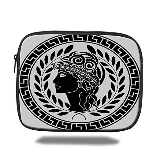 Tablet Bag for Ipad air 2/3/4/mini 9.7 inch,Toga Party,Roman Elegance Beauty Muse Portrait Patrician Woman Old Fashion Aesthetic Icon,Black White,3D Print Icon Black Belt