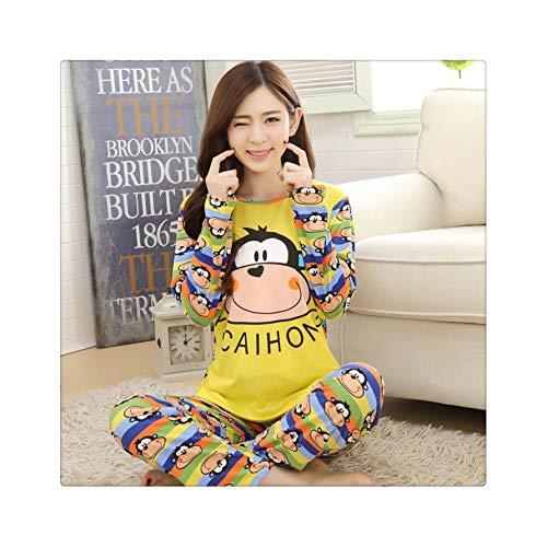 2019 Pajamas for Women Long Sleeved Pyjamas Women's Pajamas Sets Sweet Girls Sleepwear Nightgowns Lounge Women Fashion Clothing xiaolianhou Huang XL (Ideen 2019 Make-up Halloween)