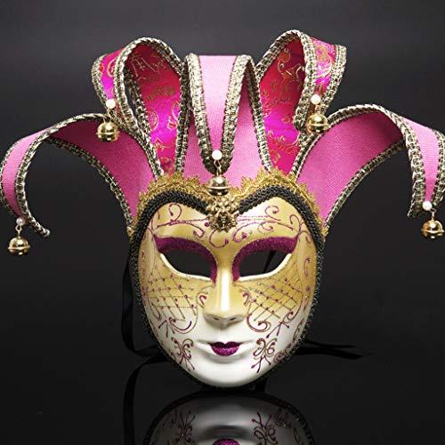 Der Oper Machen Kostüm Phantom - YYRZGW Halloween Maske, Vintage Design Vollgesichts Frauen Phantom der Oper Gold Pulver Karneval Maskerade Maske-Rose rot
