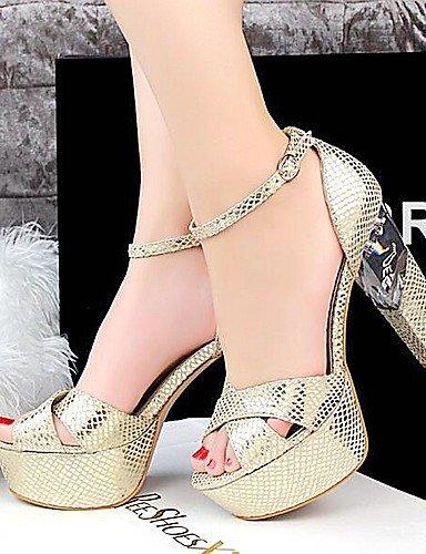 LFNLYX Scarpe Donna-Sandali-Matrimonio / Formale / Serata e festa-Spuntate / Plateau-Quadrato-Di pelle-Nero / Rosso / Argento / Dorato / Silver