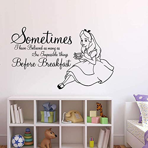 lice im Wunderland Cartoon Kaninchen Tee Zeit Cheshire Cat Mädchen Kinderzimmer Schlafzimmer Zitate Vinyl Sticker9 5x57cm ()