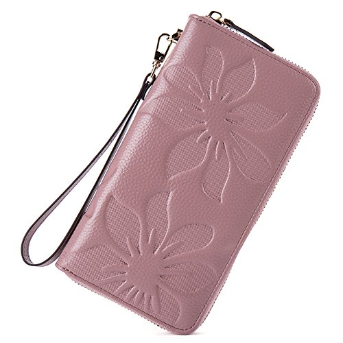 BOSTANTEN Real Leather Wallet Purse Long Credit Card Organizer Wristlet for Women Taro Pink