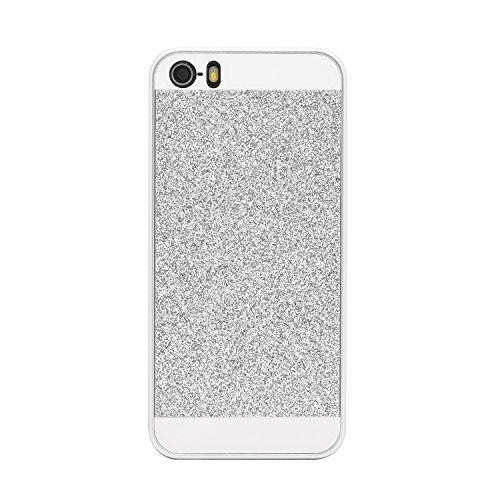 iProtect Schutzhülle Apple iPhone 5, 5s Hülle mit Glitzer - Effekt in gold Glitzer silber
