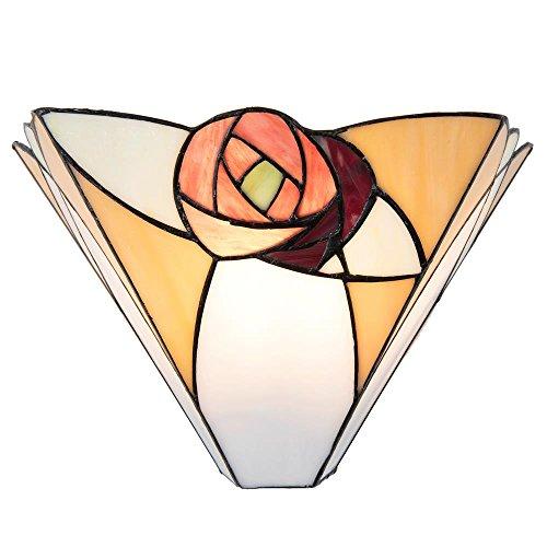 Lumilamp 5LL-5214 Wandlampe Rose Art Deco Tiffany Stil 30 * 14 * 19 cm / E14 / Max. 1x40 Watt dekoratives buntglas Tiffany Stil handgefertigt glasschirm