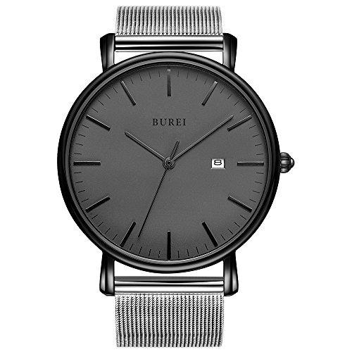 BUREI Ultra Fines Montres Unisexes, Analogique Quartz, Date Calendrier, Simple Cadran et Bracelet Maille Milanaise (Gris/argenté)