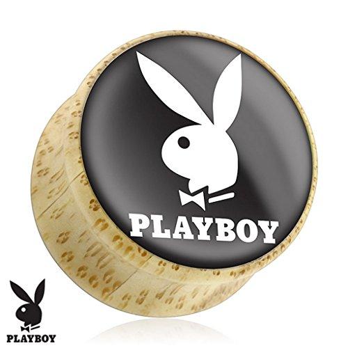 Piercing plug Playboy en bois Taille 19 mm