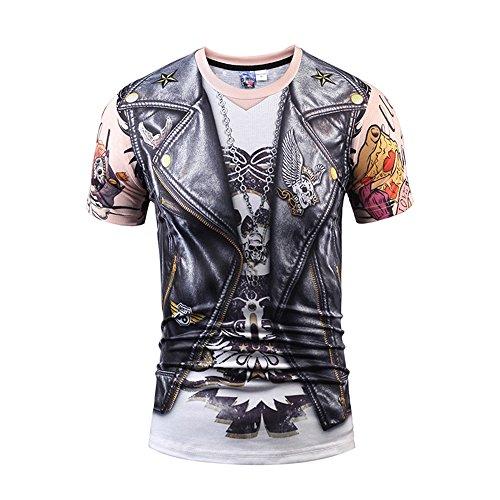 Yonbii Herren Männer bunte Galaxie-Sport-T-Shirt runde Ansatz-lustige Oberseiten-Vatertags-Geschenk-Kurzschluss-Hülse Tee-5