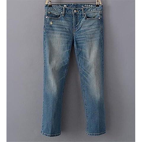 ZYQYJGF Destruir A Largo Botón Suelta Color Sólido Jeans Casuales Mujer Pants Pocket Slim Clásico Azul Denim Stretch . 32
