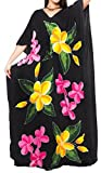 LA LEELA Mujeres caftán Rayón túnica Impreso Kimono Libre tamaño Largo Maxi Vestido de Fiesta para Loungewear Vacaciones Ropa de Dormir Playa Todos los días Cubrir Vestidos Negro_O614