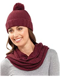 Ladies Hat With Sequins Soft Knitted Beanie Pom Pom Bobble Navy Grey Burgundy