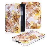 MoKo Hülle für Kindle 7.Gen - Superleicht PU Leder Tasche Schutzhülle Schale für Amazon E-reader Kindle (7. Generation - 2014 Modell)(Nur Geeignet für Kindle 2014 Modell mit Touchscreen), Blumen-Gelb