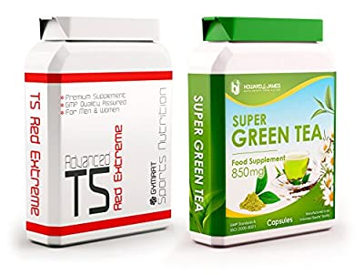 T5 Red Extreme 90 Capsules + Green Tea 60 Capsules - Strong T5 Fat Burners Slimming Pills for Weight Loss, Appetite Suppressant, Boost Metabolism For Men and Women by Gymrat
