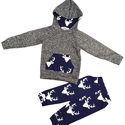 Janly Nettes Baby 1-3 Jahre Tiere Warme Outfits 2 stücke Deer Jungen Mädchen Weihnachten Kleidung Set Kinder Hoodie Tops Hose Leggings (Alter: 12-18 Monate)