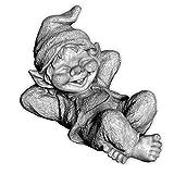 gartendekoparadies.de Lustiger Kleiner Gnom III Troll Wichtel Fantasiefigur aus Steinguss frostfest