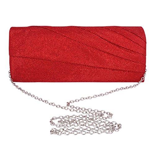 Adoptfade Damen Abendtasche Einfarbig Elegant Falte Clutch Tasche, Rot Silber