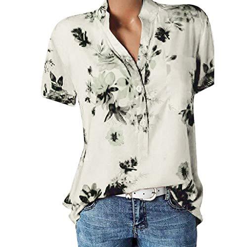 POPLY Frauen Große Größe Top Damen Drucktasche Kurzarmbluse Bohemian Lässige Shirt Plus Size Taste Hemd(Beige,S)