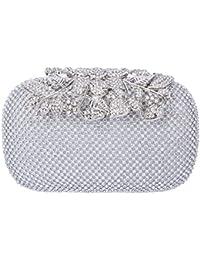 Baigio Bolso de Embrague Cartera De Mano Caja Dura para Fiesta Salida de Noche Elegante Diamante Motivo Hojas Para Mujeres
