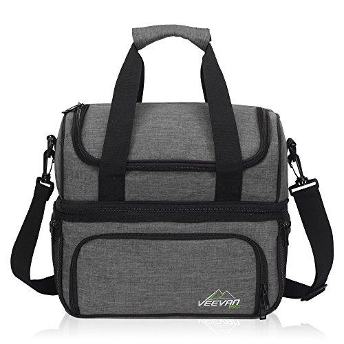 Veevan Kühltasche Kühlbox Picknicktasche Mittagessen Tasche für 2 Personen Grau