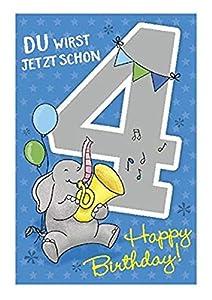 Depesche 5698.007Tarjeta de felicitación con música, 4. Cumpleaños, Azul