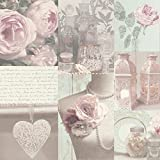 Arthouse Charlotte Blush Wallpaper Vintage Inspried Dusty Rose Pink Wallpaper for Living Spaces & Feature Walls, 53 cm x 10.0